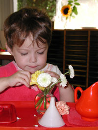 Flower-Arranging-At-Montessori-School